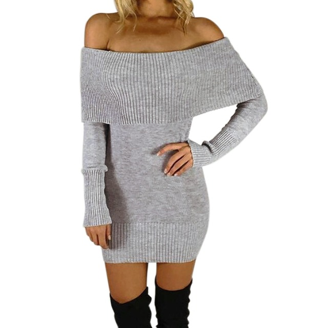 a9a55436bec Lisli Women s Long Sleeve Off Shoulder Knitted Sweater Dress Black Gray  Very Nice Elasticity Knit Clothes For Women 01S0247