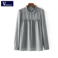 Vangull Long Sleeve Pleated Chic Blouse Elegant Ruffled Pearls Beading Shirts Sweet Office Lady Casual Brand