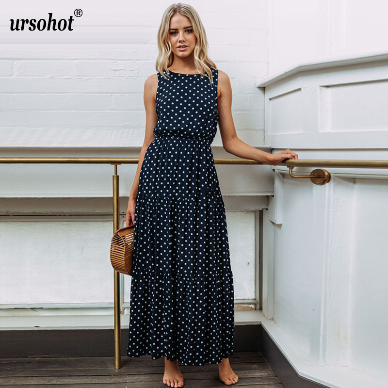 Ursohot Fashion Polka Dot Beach Maxi Dress Women 2018 Summer Boho Style Long Dresses Sarafan Vintage Party Vestidos Female