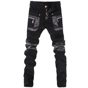Image 1 - Estilo coreano legal calças do punk dos homens da forma com zíperes de couro preto cor apertado skenny mais tamanho 33 34 36 calças de rocha
