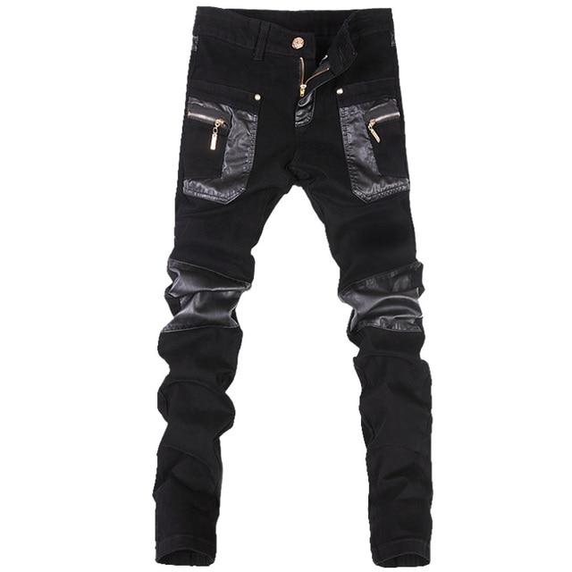 Estilo coreano legal calças do punk dos homens da forma com zíperes de couro preto cor apertado skenny mais tamanho 33 34 36 calças de rocha