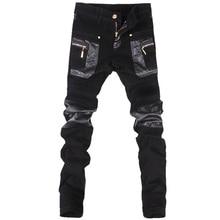 Kore tarzı serin moda Mens punk pantolon deri fermuarlar Siyah renk Sıkı skenny Artı boyutu 33 34 36 Kaya pantolon