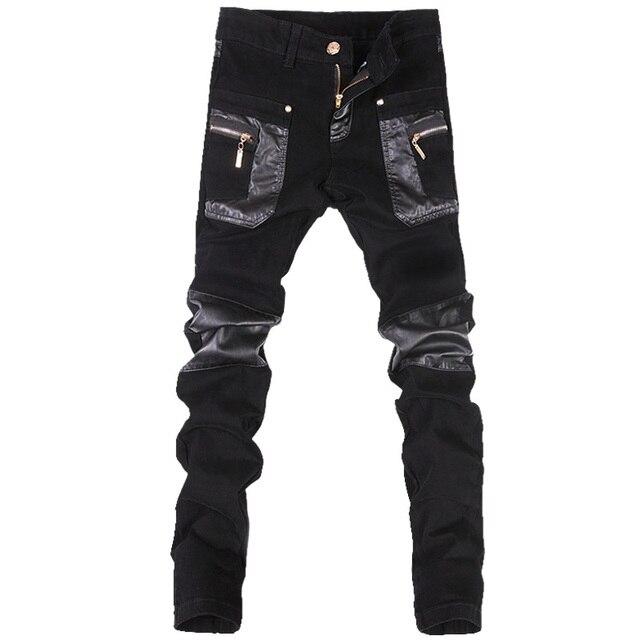 เกาหลีสไตล์ cool fashion punk กางเกงหนังซิปสีดำสีแน่น skenny Plus ขนาด 33 34 36 Rock กางเกง