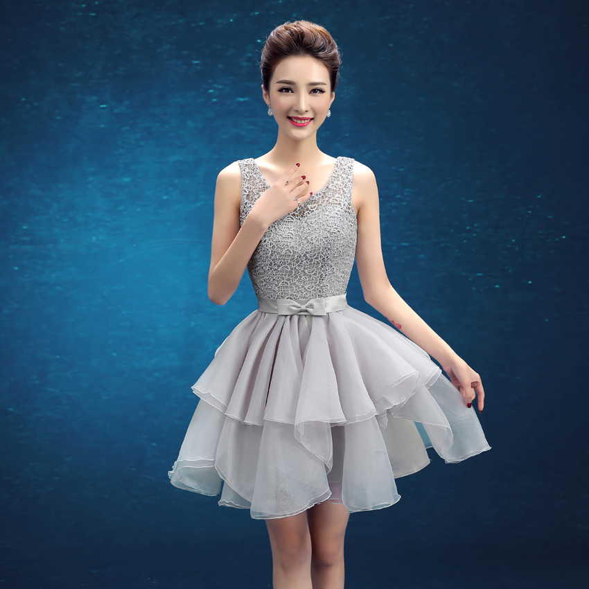 Latest Short Bridesmaid Dresses with Sashes V Back Bride Gown Ladies ...