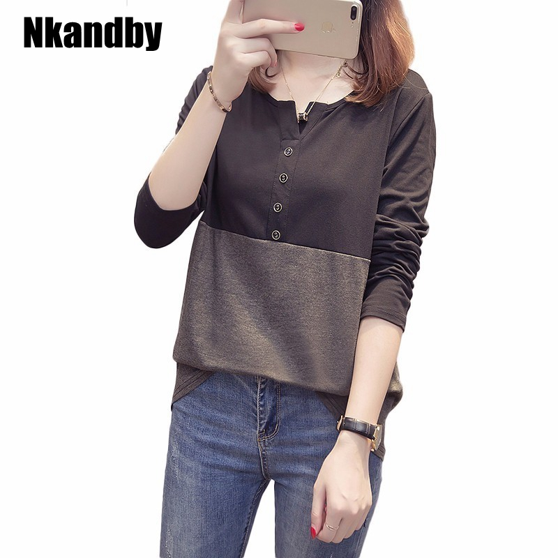 Plus Size Women`s Tshirt Autumn O-neck Patchwork XL-4XL Oversized Tops Cotton Long Sleeve Femme T-shirts