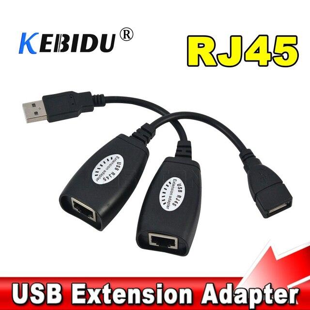 Kebidu USB 2.0 הארכת Extender מתאם זכר ונקבה עד 150ft באמצעות CAT5/CAT5E/6 RJ45 Lan רשת Ethernet מהדר כבל