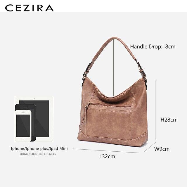 CEZIRA Casual Hobos for Women High Quality Vegan Leather Handbags Female Shoulder Bags Ladies Fashion design Tote Messenger Bags 5