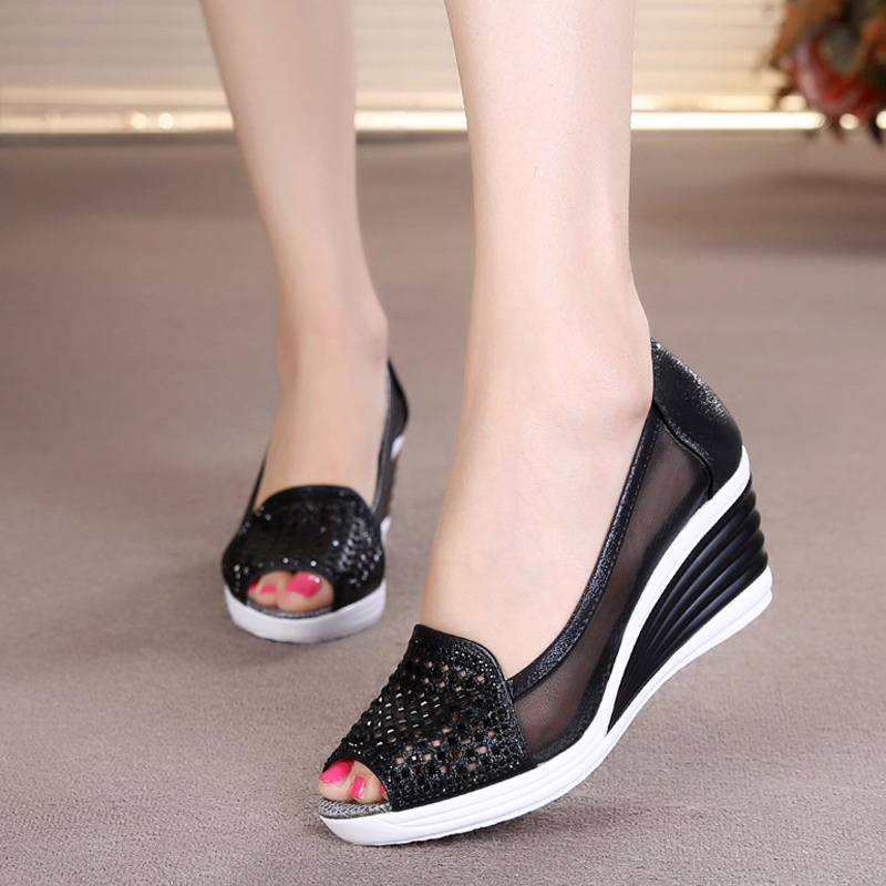 2020 Summer Women Hollow Out Sandals Wedges Slip On Shoes Platform Peep Toe High Heels Female Breathable Mesh Shoes Ladies