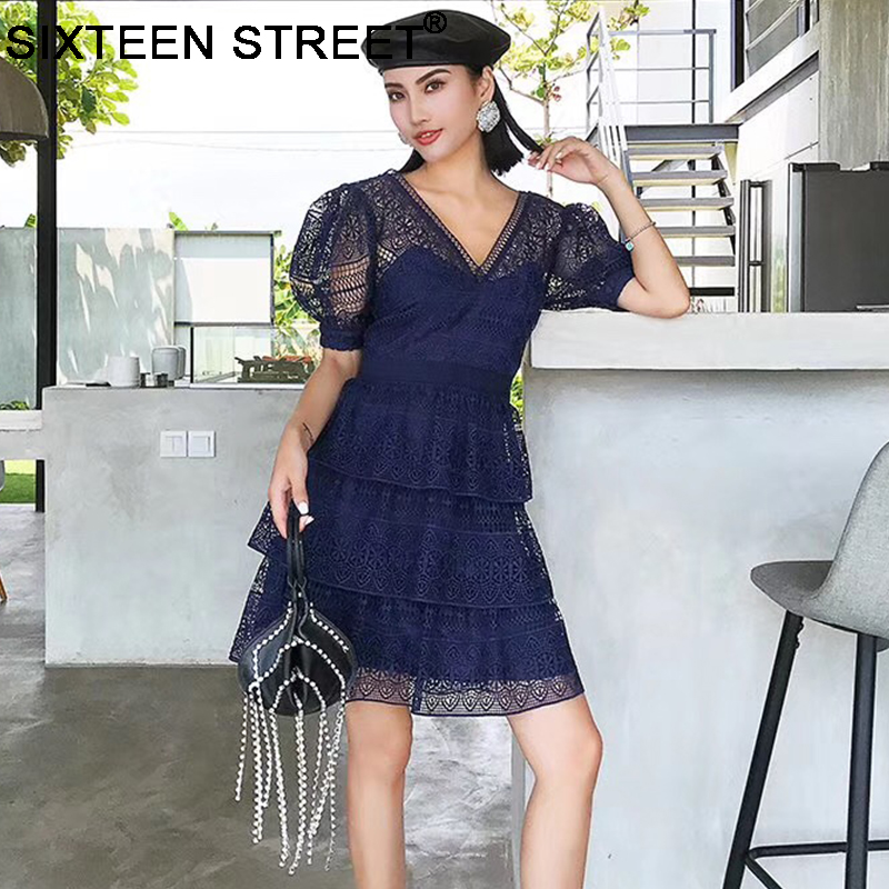 2019 new arrive blue lace dress woman summer beach short sleeve v neck hollow sexy vintage short cake dresses sp