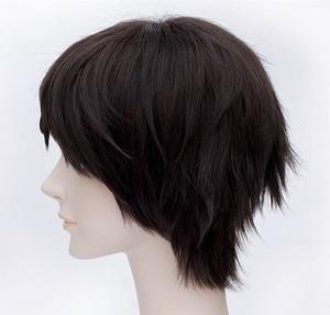 Image 3 - High Quality Attack on Titan Eren Jaeger Wig Dark Brown Short Mens Heat Resistant Synthetic Cosplay Wig + Wig Cap