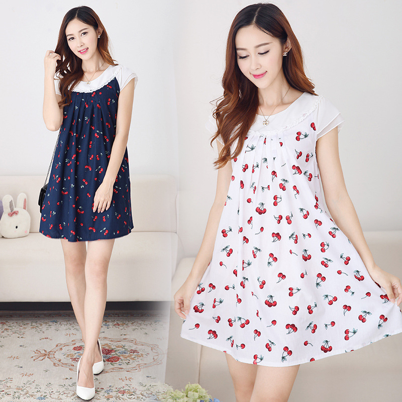 7dd959c4dc38d Maternity Dress New 2017 Summer Cherry Printing Patchwork Chiffon Short  Sleeves Loose Clothes for Pregnant Women Dresses YFQ045
