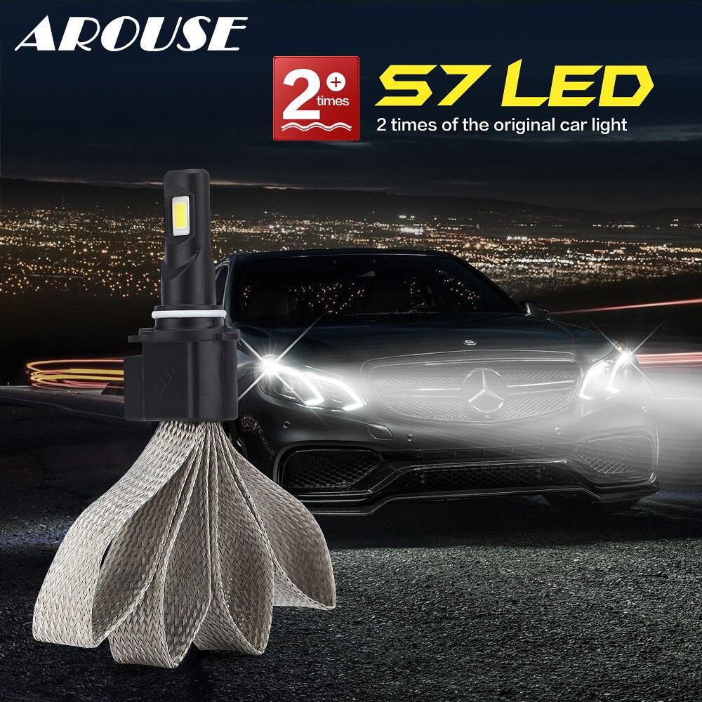 AROUSE 9006/HB4 H1 H3 H27 H7 H11 HB3 HB5 H4 H13 HB1 S7 Car LED Headlight Braid Radiating 12000LM/Pair Lamp Auto Bulb Light DC12v