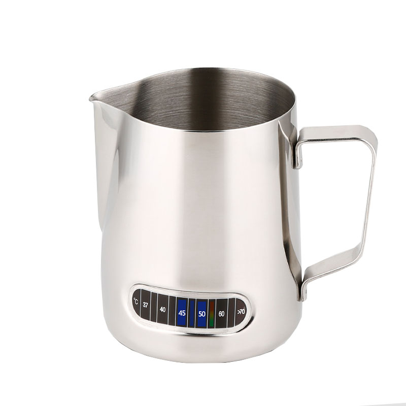 600ml Coffee Maker Milk Frothing Jug Barista Thermometer Make Perfect Froth For Cappuccino Stainless Steel Coffee Accessories eupa stainless steel 500ml espresso coffee latte art cylinder pitcher barista craft latte milk frothing jug household