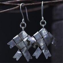 JINSE New Handmade Vintage Thai 925 Sterling Silver Dangle Earrings Original Ethnic Jewelry Braided Woven Fish Earring