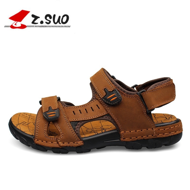Z.suo Genuine Leather Men Sandals New 2018 Summer Walking Sandals for Man  Fashion Brand Outdoor Slippers Male Casual Shoes-in Men s Sandals from Shoes  on ... 0fe6f2d9b9fb