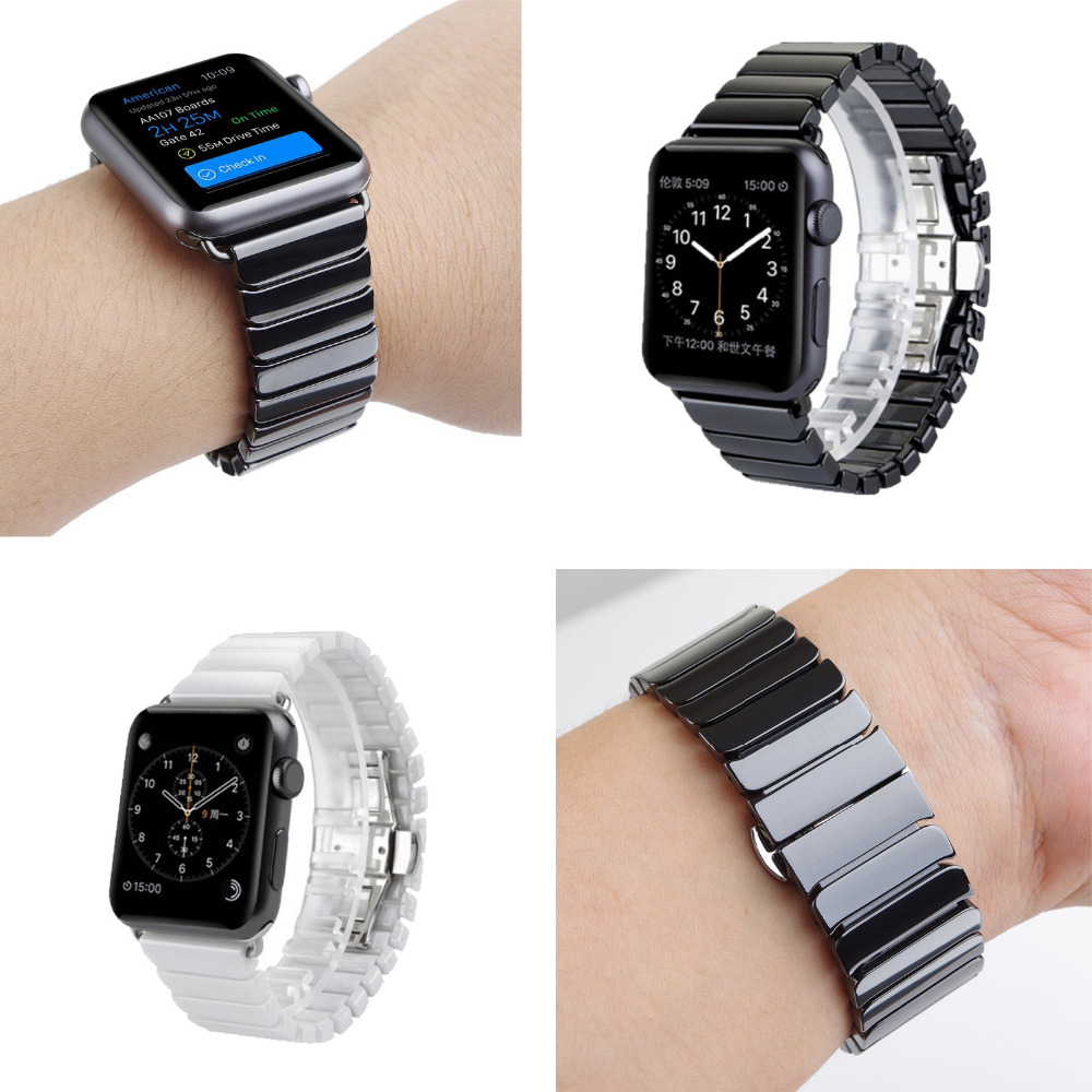 CRESTED Ceramic Watch Band for Apple Watch 42 mm/38 Link Bracelet Butterfly Buckle strap for iwatch series 1/2/3 band crested stainless steel watch band strap for apple watch 42 mm 38 mm link bracelet replacement watchband for iwatch serise 1 2