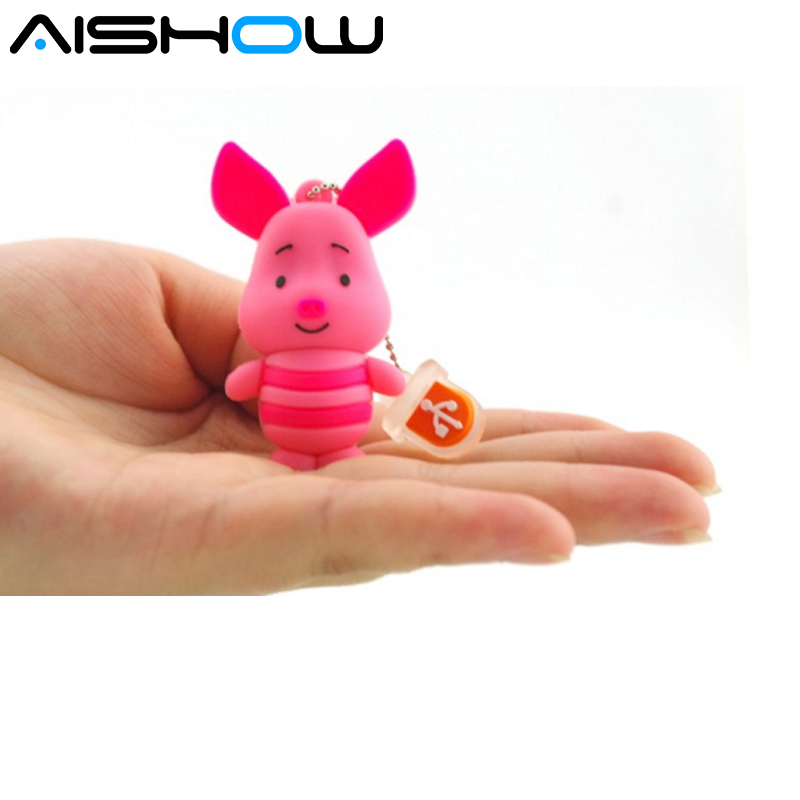 Loss money Custom New Pen Drive Cute Pig usb 2.0 memory flash stick pen drive for computer 64GB/32GB/16GB/8GB USB Flash Drivesk