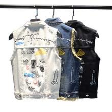 New Summer Fashion Cool Printed Denim Vest Women Cute Cartoon Veste Jeans Femme Hole Tassel Womens Sleeveless Jacket
