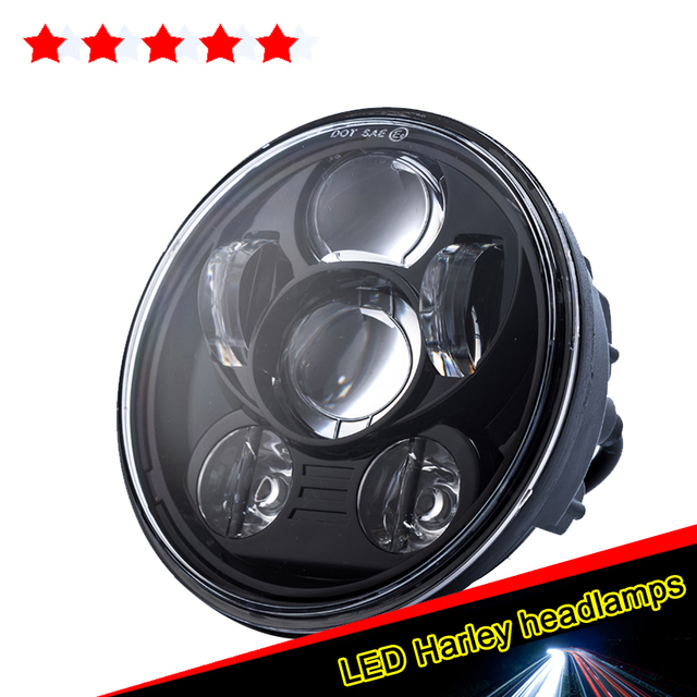 Led Motorcycle Headlight h4 Hi/Lo 12v 24v Crees Chip 5-3/4 Motorbike Headlight Lens  Headlamp Led 5.75 Daymakers For Harleys