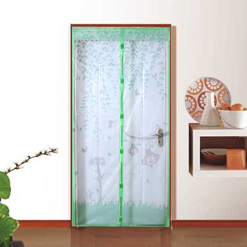 New Checkered Cartoon Mosquito Curtain Magnetic Soft Curtain Door Screen Door Encryption Fly Insect Curtain DA