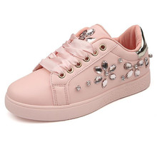 Womens casual shoes spring and autumn microfiber fashion rhinestone wear vintage womens new comfortable breathable