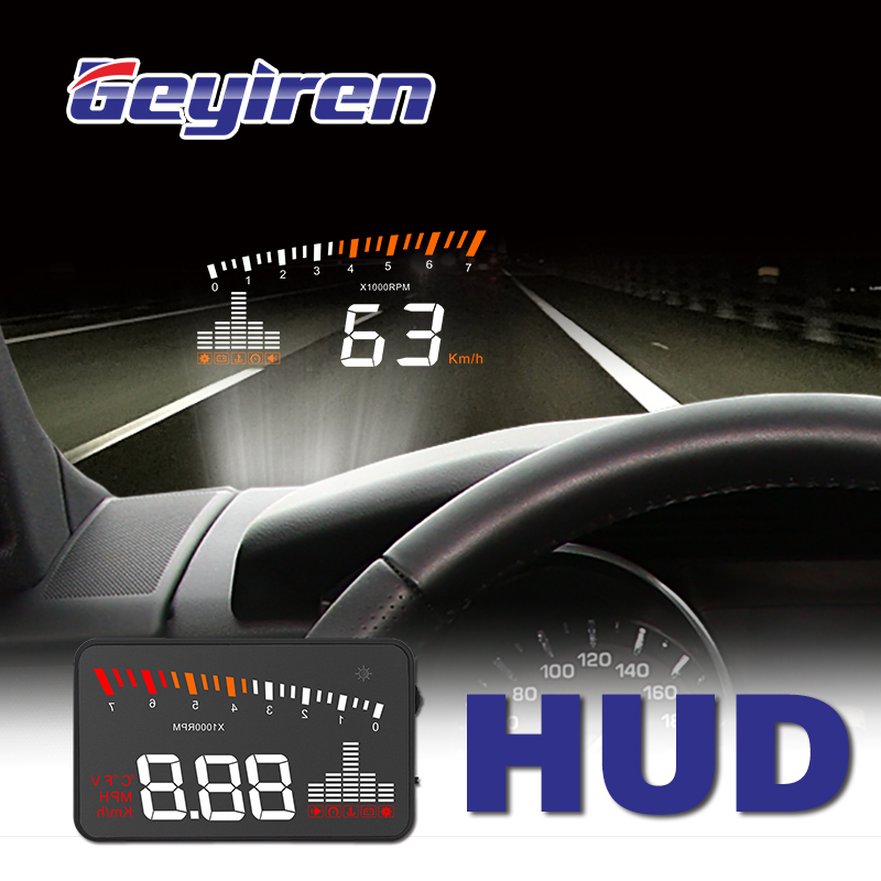 GEYIREN 2019 X5 OBD2 Head-Up Display Speedometer Windshield Projector RPM Speed Alarm Car EU OBD HUD Display Auto Electronic