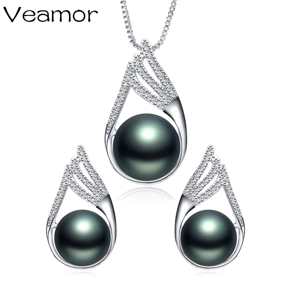Veamor Trendy Jewelry Black Pearl Jewelry Set 11 12mm Big