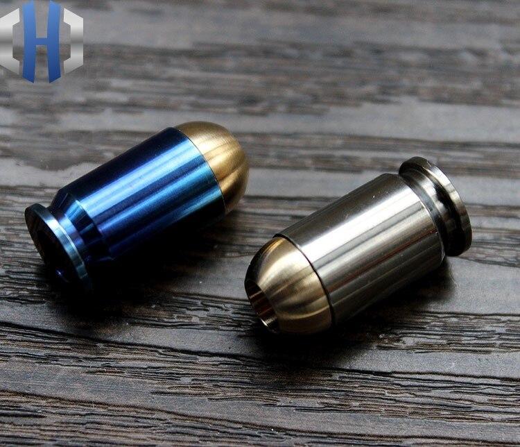 De titanio + cobre bala cuchillo colgar hebilla de la cabeza de la cremallera EDC paraguas cuerda colgante accesorios EDC cuchillo cuentas