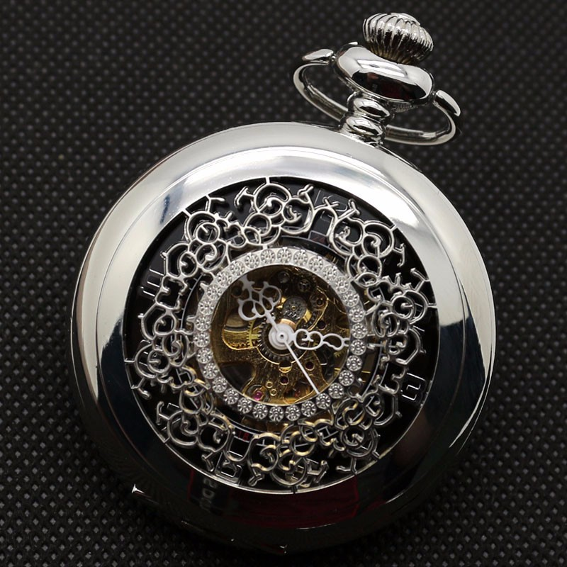 Fashion Hollow Flower Silver Hand Winding Mechanical Pocket Watch Mens Womens Box Bag 4