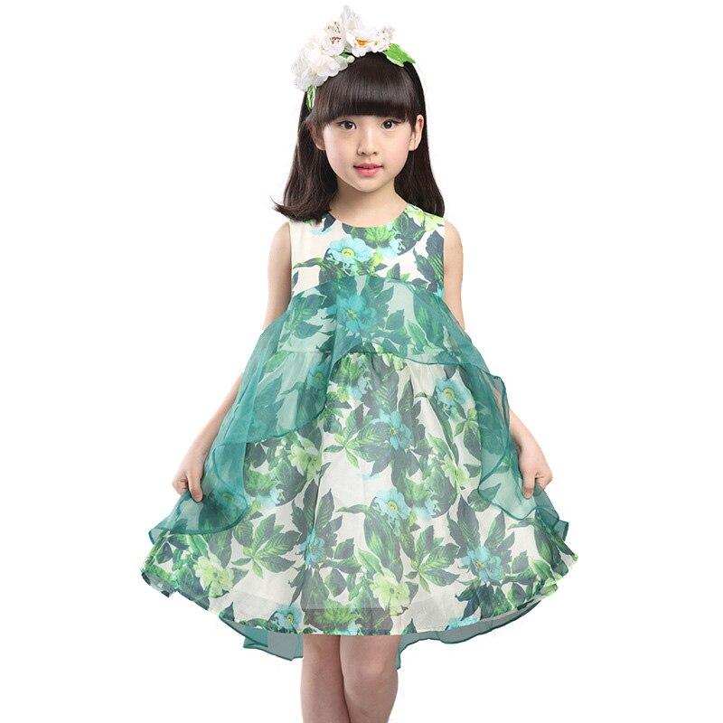 ФОТО 2016 New summer girls costume fashion Green leaf pattern dresses for girls cute sleeveless girls princess dress with voile