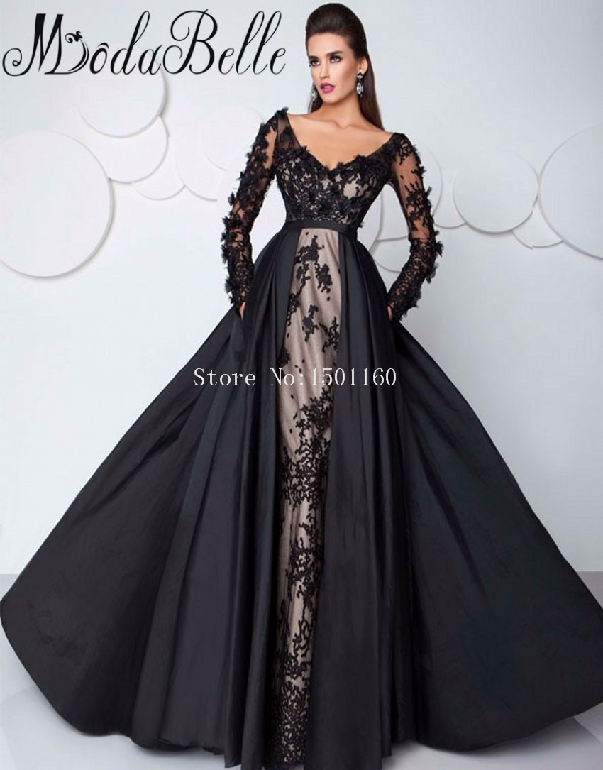 Popular Black Evening Gown Long Sleeve-Buy Cheap Black Evening ...