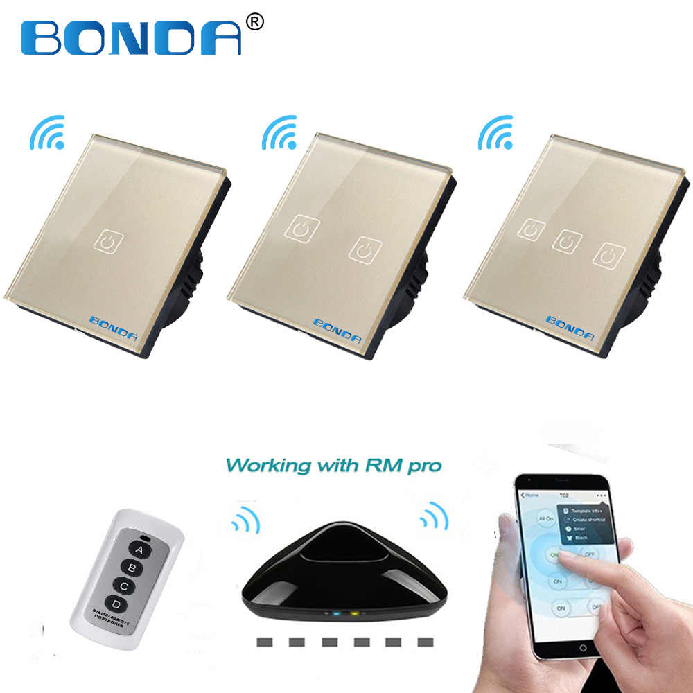 Bonda RF Remote Control Switch EU/UK 1/2/3 Gang Mewah Emas Tempered Kaca Kristal Panel dengan Broadlink RM Pro APP Kontrol