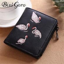 Купить с кэшбэком BISI GORO 2019 New Sweet Women Wallets Zipper Hasp Coin Purse Swan Embroidery Short Wallet Card Holders Dollar Price