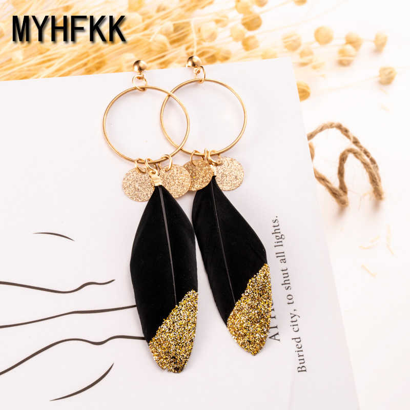 MYHFKK Ms. Fringe Pendant Long Earrings Leaf Feather Earrings Jewelry Wedding Color Feather Earrings Bridal Jewelry EH069