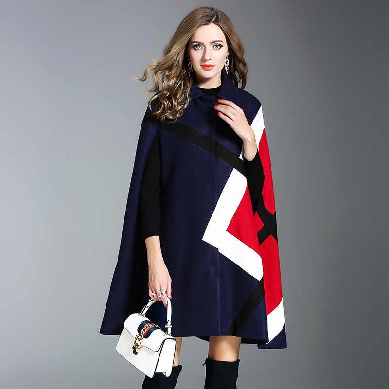 2017 New Winter Fashion Loose Plaid Shawl High Quality Fashion Elegant Turn-down Collar Single Breasted Women Shawl Coat