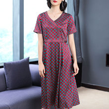 Red Slik Dress High Quality Plus Size Big Midi Dresses 2019 Summer Robe Polka Dot Print Loose Casual Tunic Elegant black Clothes plus size polka dot floral tunic tank top