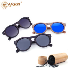 Retro wood sunglasses classic round frame polarized sun glasses high quality fashion driving glasses oculos de sol  W3016