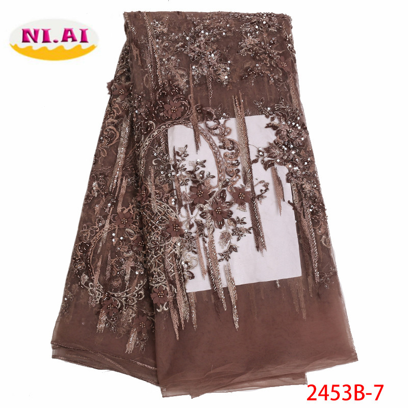 2019 Newest Arrival Beautiful French 3D Beaded Lace Fabric Fashion Bright African Nigerian Lace Fabric For