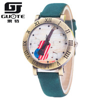 Guote Brand Vintage Style Fashion Watch Women Elegant Color Leather Strap Retro Guitar Carving Roman Number