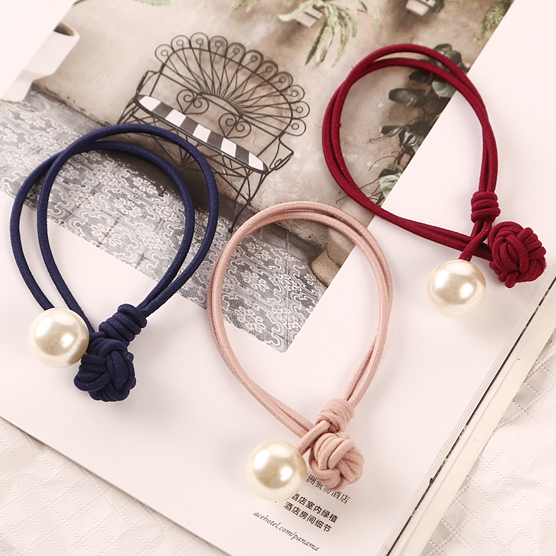 5pcs Fashion Handmade Knotted Pearl Elastic Rubber Bands   Headwear   Women Girl Ponytail Holder Gum Scrunchy New Hair Accessories
