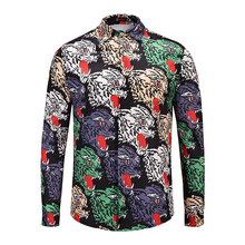 XIMIWUA 2019 New Arrival Men Luxury Shirt Casual Slim Fit Hawaiian Shirts Animal Print Long Sleeve Chemise Homme