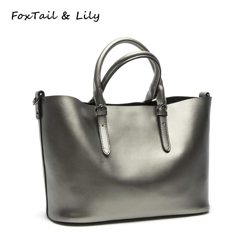 FoxTail & Lily Women Composite Bag Genuine Leather Ladies Handbag Shoulder Messenger Bags Large Casual Tote Woman Shopping Bags women handbag shoulder bag messenger bag casual colorful canvas crossbody bags for girl student waterproof nylon laptop tote