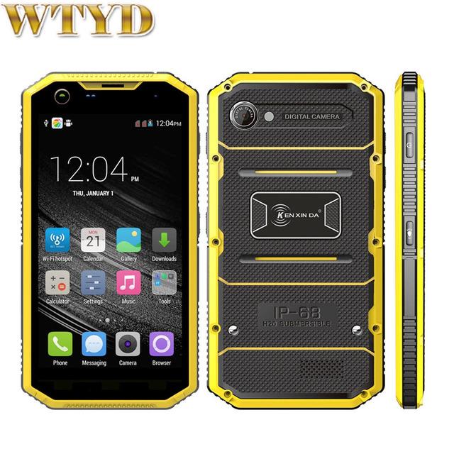 KEN XIN DA Pruebas W7 Teléfono Inteligente ROM 16 GB + RAM 1 GB IP68 a prueba de agua A Prueba de Golpes de 5.0 pulgadas Andriod 5.1 MTK6735 Quad Core LTE 4G