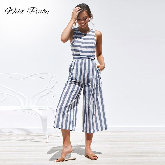 Casual Striped Jumpsuit