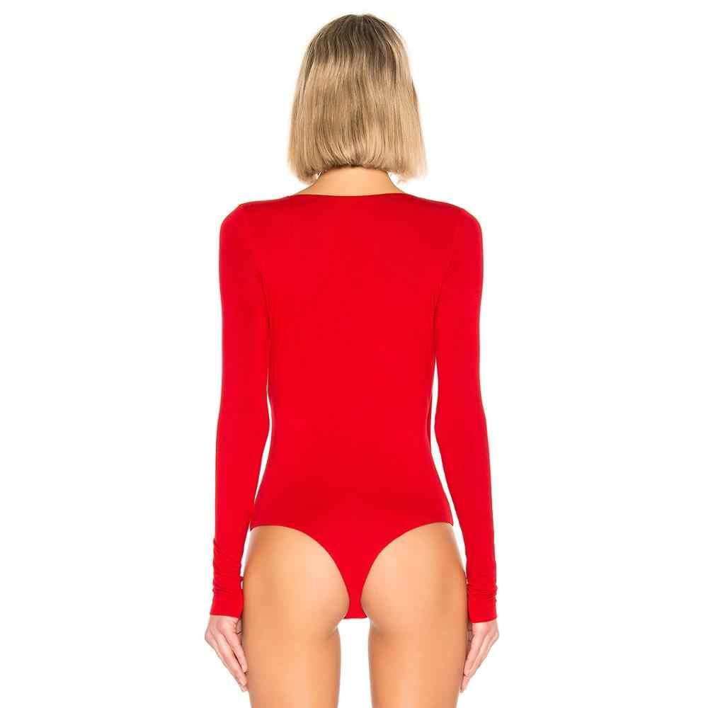 Magiray женские комбинация-стринги Surplice Ruched Глубокий v-образный вырез с длинным рукавом Топы 2019 сексуальные комбинезоны белые красные черные летние боди костюмы