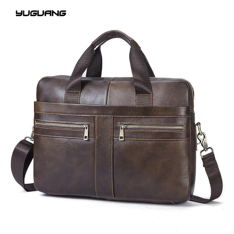 font b Leather b font Bag Business font b Handbags b font Cowhide Men Crossbody