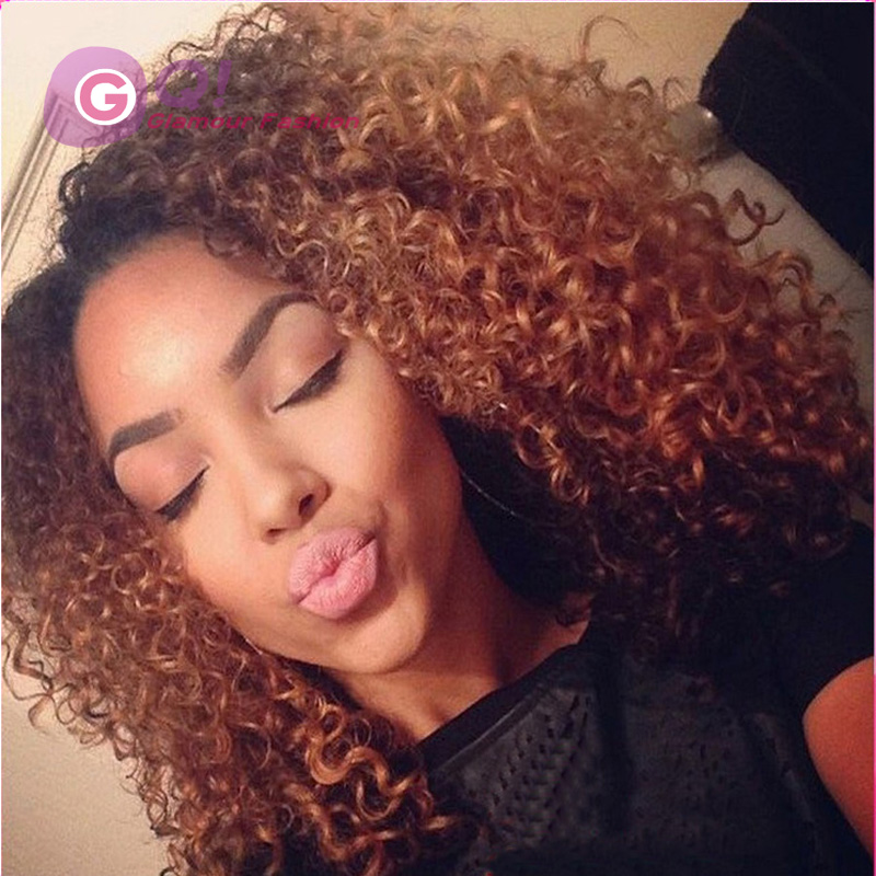 4*4 silk base wigs kinky curly ombre wig glueless silk top ...