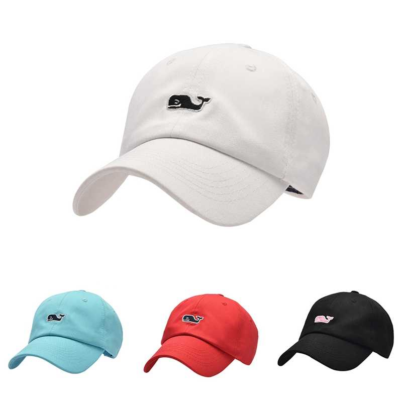 Peaked Cap Women Men Whale Embroidered Cotton Hat Headwear Outdoor Sports Wear With Adjustable Back Closure