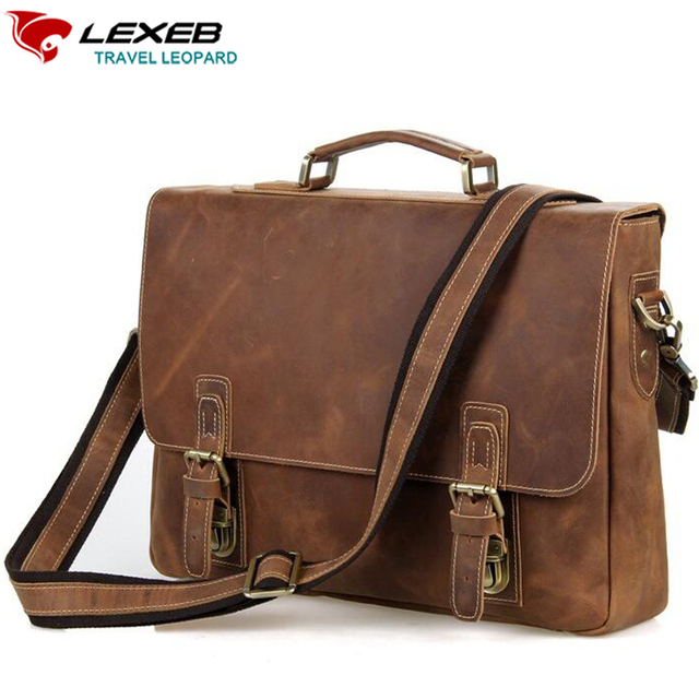 Lexeb Brand Vintage Leather Messenger Bag Men Business Handbags High Quality Crazy Horse Briefcase Laptop