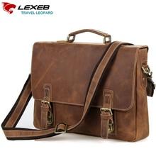 LEXEB Brand  Vintage Leather Messenger Bag Men Business Handbags High Quality Crazy Horse Briefcase Men Laptop Bags 15.6 Brown